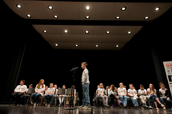 Spellers compete during Monday's 2018 Joplin Globe Spelling Bee at Thomas Jefferson Independent Day School.<br /> Globe | Roger Nomer