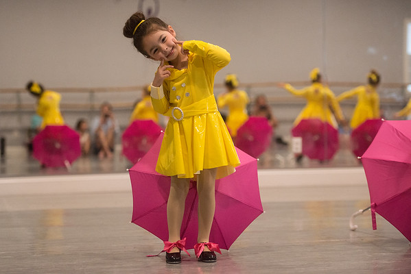 Madelyn Neal, 3, practices her dance routine at Karen's Dance Studio on Tuesday for the upcoming recital.<br /> Globe | Roger Nomer