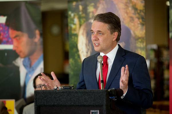 Kansas Gov. Jeff Colyer talks about the state's budget during a visit to Pittsburg State on Tuesday at the Axe Library.<br /> Globe | Roger Nomer
