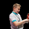 Zachery Webb, a fifth grader from Seneca Intermediate, admires his trophy after winning Monday's 2018 Joplin Globe Spelling Bee at Thomas Jefferson Independent Day School.<br /> Globe | Roger Nomer