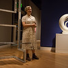 "Molly Larkey talks about her sculpture, left, being shown next to a Georgia O'Keeffe sculpture in ""The Beyond: Georgia O'Keeffe & Contemporary Art"" at Crystal Bridges Museum of American Art on Thursday.<br /> Globe 
