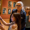 Emma, 8, and her grandmother Paulette Felts, Branson, look over the digital displays in the Early American Art Galleries at the Crystal Bridges Museum of American Art on Thursday.<br /> Globe | Roger Nomer