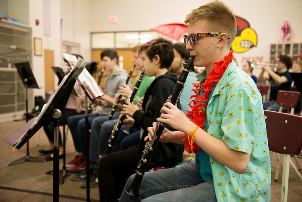 Alex Bieniek, Webb City High sophomore, practices with the band on Friday at Webb City High School.<br /> Globe | Roger Nomer
