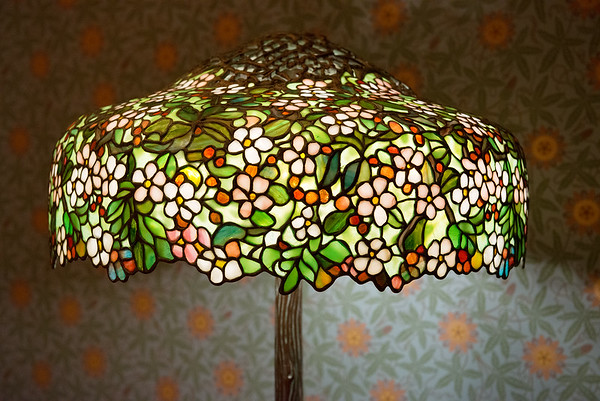 This Tiffany Apple Blossom Lamp is on loan from the New York Historical Society and on display at Crystal Bridges.<br /> Globe | Roger Nomer