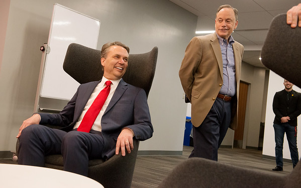Kansas Gov. Jeff Colyer gets a tour of the renovated Axe Library from Pittsburg State President Steve Scott during a visit to Pittsburg State on Tuesday.<br /> Globe | Roger Nomer