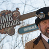 James Roach assists riders as they prepare to ride the Time Traveler on Tuesday at Silver Dollar City.<br /> Globe | Roger Nomer