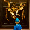 Banks Brown, 6, Dallas, uses an audio guide at Crystal Bridges on Thursday. With the redesign of the Early American Art Galleries, the museum will update their audio tours of the artworks.<br /> Globe | Roger Nomer