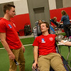 Tucker Haynes, Carl Junction High senior, left, talks with Lance Ward, sophomore, as he donates blood on Friday at the school during a blood drive for the Community Blood Center of the Ozarks.<br /> Globe | Roger Nomer