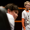 Jonathan Tribbey, a sixth grader from Neosho Christian School, spells during Monday's 2018 Joplin Globe Spelling Bee at Thomas Jefferson Independent Day School.<br /> Globe | Roger Nomer