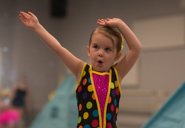 Peyton Webb, 4, practices a dance routine at Karen's Dance Studio on Tuesday for an upcoming recital.<br /> Globe | Roger Nomer