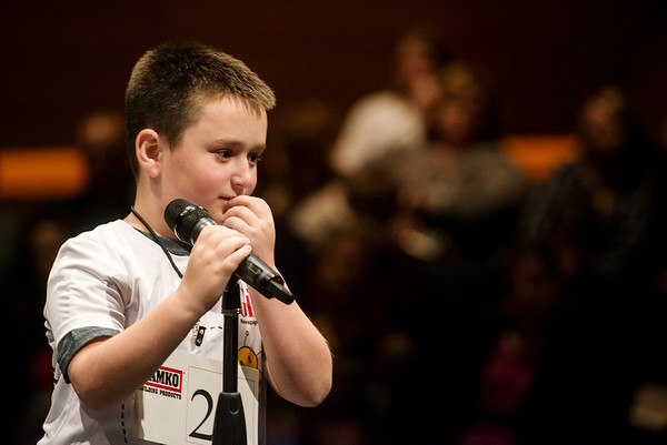 Gavin Barnes, a fourth grader from Eugene Field Elementary in Webb City, ponders the spelling of a word during Monday's 2018 Joplin Globe Spelling Bee at Thomas Jefferson Independent Day School.<br /> Globe | Roger Nomer
