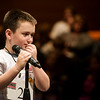 Gavin Barnes, a fourth grader from Eugene Field Elementary in Webb City, ponders the spelling of a word during Monday's 2018 Joplin Globe Spelling Bee at Thomas Jefferson Independent Day School.<br /> Globe   Roger Nomer