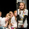 Layla Jones, a fourth grader from Mark Twain Elementary in Carthage, thinks while spelling during Monday's 2018 Joplin Globe Spelling Bee at Thomas Jefferson Independent Day School.<br /> Globe | Roger Nomer