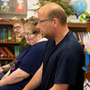 (from left) Levi Hunt, Mary Smith and Patrick Potter talk about what it was like to have autism in the fifth grade during a presentation to fifth graders at St. Mary's Elementary on Thursday.<br /> Globe | Roger Nomer