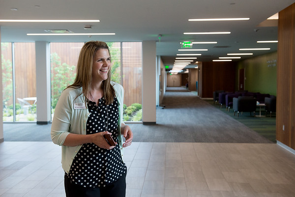 Nicole Brown, assistant dean of student services, gives a tour of Kansas City University of Medicine and Biosciences Joplin on Tuesday.<br /> Globe | Roger Nomer