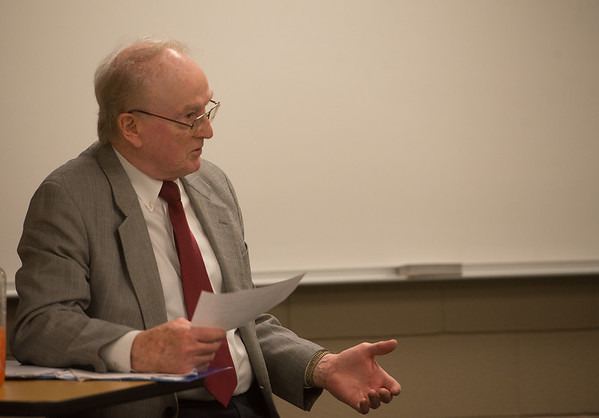 Terry Marion leads a human resources management class on Tuesday at Missouri Southern.<br /> Globe | Roger Nomer