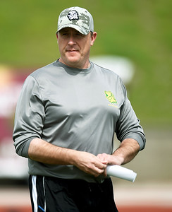 Missouri Southern football's first-year coach Jeff Sims watches his players as they go through drills last month at Fred G. Hughes Stadium. All 12 New Jersey members of the U.S. House of Representaives have asked his former school, Garden City (Ks.) Community College to launch an outside investigation into the death of one of his former GCCC players, Braeden Bradforth, 19, of Neptune, N.J. Globe | Laurie Sisk
