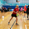 Linette Johnson, Joplin, plays a game of pickleball during the 26th annual National Senior Health and Fitness Day at the Joplin YMCA on Wednesday.<br /> Globe | Roger Nomer