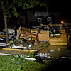 A recreational vehicle lay destroyed after a large tornado hit on Tea Street near Briarbrook in Carl Junction on Wednesday night.<br /> Globe | Laurie SIsk