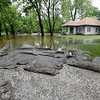 Washed up asphalt lays like wet carpet on Jaccard Street in the Royal Heights neighborhood after Turkey Creek flooded the neighborhood on Thursday morning. Now receded, the water was once several feet high on the pictured house.<br /> Globe | Laurie SIsk