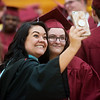 Lacey Santillan, art teacher at Joplin High School, poses for a selfie with her student Ciera West before Sunday's Joplin High School graduation ceremony at the Leggett and Platt Athletic Center.<br /> Globe | Roger Nomer