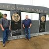 From the left: Mount Hope Cemetery Foreman Chris Ferguson and Manager Travis Boyd stand near the Veterans Memorial of Timeless Honor at Mount Hope Cemetery on Thursday. On Memorial Day, three veterans' remains that were unclaimed for decades will be interred during a special ceremony at the Memorial.<br /> Globe | Laurie Sisk