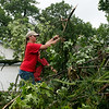 Tori Swem helps clean tree branches from a fellow church member's yard in the Briarbrook neighborhood of Carl Junction on Thursday.<br /> Globe | Roger Nomer