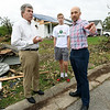 From the left: Sen. Roy Blunt talks with Briarbrook residents Jacob Teeter, 14 and his father, Toby Teeter on Wednesday as he visits with those affected by the Carl Junction tornado.<br /> Globe | Laurie SIsk
