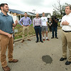 Briarbrook resident Jared Nichols, left, talks about his insurance claim denial with Sen. Roy Blunt on Wednesday in the heart of the tornado  debris in Carl Junction.<br /> Globe | Laurie Sisk