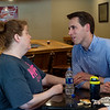 Sen. Josh Hawley talks with tornado survivor Kim Kelley during a visit to Briarbrook on Friday.<br /> Globe | Roger Nomer