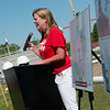 Heather Linscheid introduces donors during the groundbreaking for an inclusive playground at Carl Junction on Monday.<br /> Globe | Roger Nomer