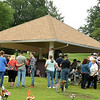 Visitors gathe Monday for a special Memorial Day service honoring three veterans who were interred on Memorial Day at Mount Hope Cemetery.<br /> Globe | Laurie Sisk