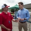 Steve Lawver, Carl Junction city administrator, talks with Sen. Josh Hawley about tornado damage in Briarbrook during a visit on Friday.<br /> Globe | Roger Nomer