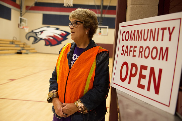 Kay Johnson talks about the community shelter at Kelsey Norman on Tuesday.<br /> Globe | Roger Nomer