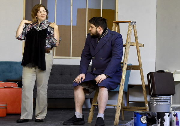 "From the left: Kaitlin Morrill (Cory) and Zach Bradley (Paul) rehearse their roles for the Stone's Throw Theatre production of ""Barefoot in the Park"" on Wednesday night at Stone's Throw. Globe 