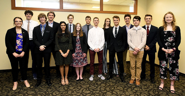 The 2019 All-Area Academic Excellence Team pose for a photo before the start of their honors banquet on Thursday night at Missouri Southern. Front row, from the left: Megan Petersen (Joplin,) Jase Cornett (Seneca,) Krusha Bhakta (Joplin,) Emily Tappana (Webb City,) Seth Frack (Carl Junction,)  Lane Wilson (Thomas Jefferson,) Zach Smith (Columbus) and Madison Szell (McAuley.) Back row: Aaron Higgnbotham (Pittsburg Colgan,) Matthew Novalany (Seneca,) Ethan Brown (Carl Junction,) Lucas Kuehnel (Joplin,) Olivia Renfro (Thomas Jefferson,) Aaron Wells (Thomas Jefferson) and Paul Worsley (Pittsburg.) Not pictured: Carrie Wallace (Carthage,) William Secker (College Heights,) Caroline McCaffree (Nevada,) Faith Franz (Nevada) and Chandler Rheid Tarrant (Webb City.) Globe | Laurie Sisk