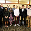The 2019 All-Area Academic Excellence Team pose for a photo before the start of their honors banquet on Thursday night at Missouri Southern. Front row, from the left: Megan Petersen (Joplin,) Jase Cornett (Seneca,) Krusha Bhakta (Joplin,) Emily Tappana (Webb City,) Seth Frack (Carl Junction,)  Lane Wilson (Thomas Jefferson,) Zach Smith (Columbus) and Madison Szell (McAuley.) Back row: Aaron Higgnbotham (Pittsburg Colgan,) Matthew Novalany (Seneca,) Ethan Brown (Carl Junction,) Lucas Kuehnel (Joplin,) Olivia Renfro (Thomas Jefferson,) Aaron Wells (Thomas Jefferson) and Paul Worsley (Pittsburg.) Not pictured: Carrie Wallace (Carthage,) William Secker (College Heights,) Caroline McCaffree (Nevada,) Faith Franz (Nevada) and Chandler Rheid Tarrant (Webb City.)<br /> Globe | Laurie Sisk