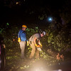 Carl Junction firefighters clear tree debris from a road in Briarbrook on Wednesday night.<br /> Globe | Roger Nomer