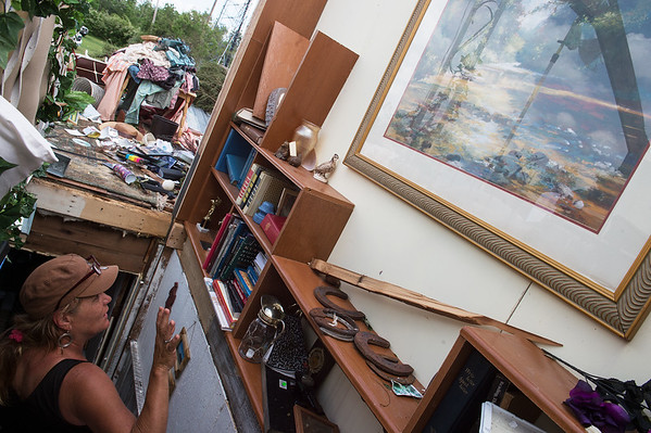 Laura Erickson talks about her favorite painting, which was left untouched by a tornado, in her house along Joplin Road outside Carl Junction on Friday.<br /> Globe | Roger Nomer