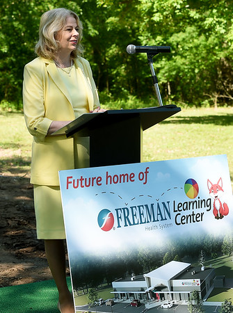 Paula Baker, President and Chief Cxecutive Officer of Freeman Health System, talks about how the new Freeman Learning Center will help in employee retention during ground breaking ceremonies for the new center on Wednesday morning.<br /> Globe | Laurie Sisk