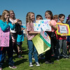 Carl Junction students cheer during Monday's groundbreaking ceremony for the inclusive playground.<br /> Globe | Roger Nomer