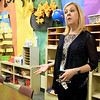 Joplin Superintendant Melinda Moss details some of the issues surrounding Columbia Elementary while inside a second story classroom on Wednesday. In addition to structural issues in the century-old school, Moss said classrooms and the school's library are too small.<br /> Globe | Laurie Sisk