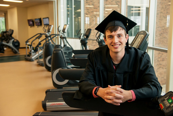 Gavin Currey plans to make a career in wellness management after graduating from Missouri Southern University on Saturday.<br /> Globe | Roger Nomer