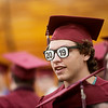 Aden Clevenger wears a pair of 2019 sunglasses before Sunday's Joplin High School graduation ceremony at the Leggett and Platt Athletic Center.<br /> Globe | Roger Nomer