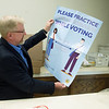 Charlie Davis, Jasper County Clerk, talks about posters that will be seen at polling locations on Wednesday at the Jasper County Courthouse in Carthage.<br /> Globe | Roger Nomer