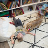Four-year old Gideon Basye plays in the family's rebuilt library with dog Benji and seven-year old sister Maxx on Thursday in Carl Junction.<br /> Globe | Roger Nomer