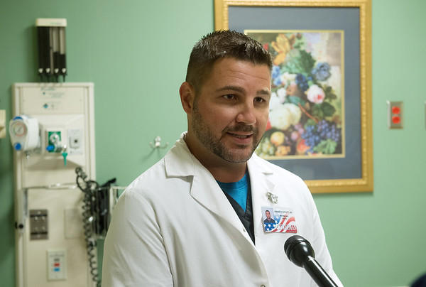 Kenneth Offutt, emergency room doctor at Freeman Health System, talks about the signs of a stroke on Tuesday at Freeman Hospital. Globe | Roger Nomer