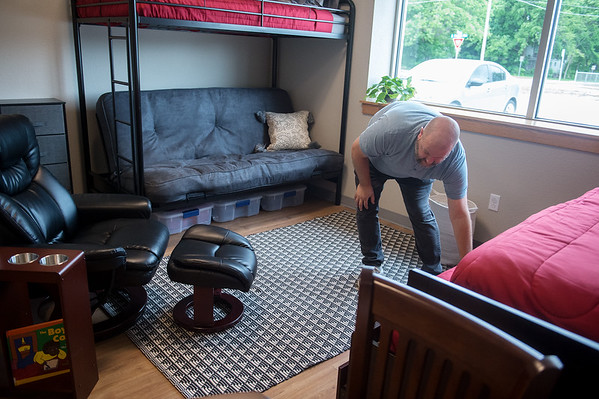 Matt Ingle, director of the Washington Hope Center, talks about available beds for families at the center on Tuesday. Globe | Roger Noemr
