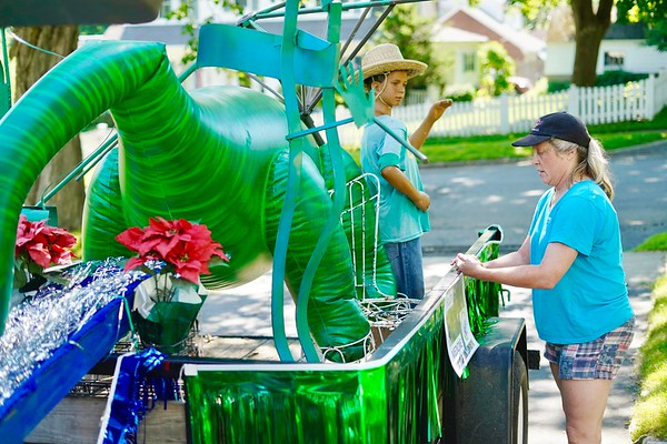 BEN GARVER — THE BERKSHIRE EAGLE<br /> Sue Masino Galt sets up a float for Restore the North Woods and the Grange in South Pittsfield, Wednesday, July 3, 2019. The float will display issues of conservation in a playful way.
