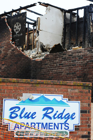 Globe/T. Rob Brown<br /> Part of the remains of the Blue Ridge Apartments in Wheaton on Monday afternoonn, Nov. 26, 2012.